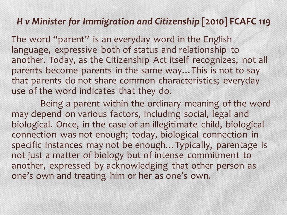 H v Minister for Immigration and Citizenship [2010] FCAFC 119